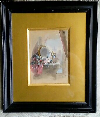 Antique French 19thC Still Life with Roses by an Open Window - Watercolour