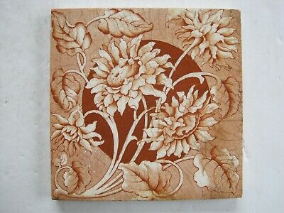Antique Victorian Transfer Print Sherwin & Cotton Floral Wall Tile