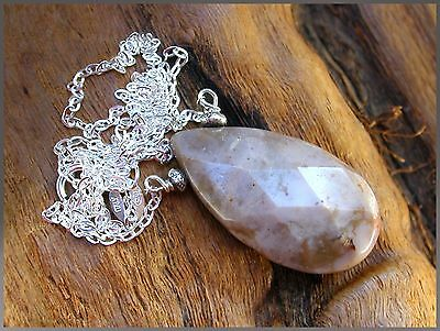 *PI*Natural faceted WHITE TURQUOISE briolette HILL TRIBE .925 Necklace! handmade