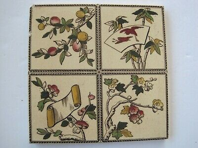 Antique Victorian Transfer Print & Tile - Japanesque Design - Cranes, Fruit