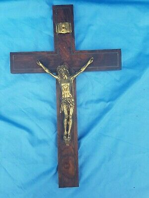 Antique French, crucifix, crucifix, gilded bronze and solid rosewood, late 19th