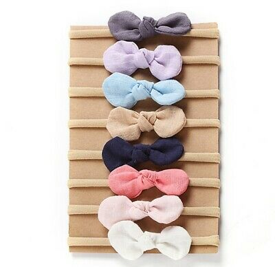 Newborn Baby Nylon Soft Bow Head Wrap Turban Top Knot Headband Girl Accessories