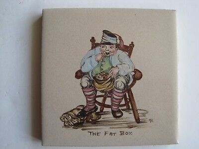 """Vintage Woolliscroft 4"""" Hand-Painted Dickens Character Tile - The Fat Boy"""