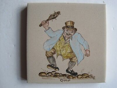 """Vintage Woolliscroft 4"""" Hand-Painted Dickens Character Tile - Quilp"""