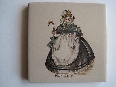 "Vintage Woolliscroft 4"" Hand-Painted Dickens Character Tile - Mrs Gamp"