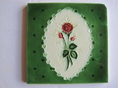 Antique Victorian Moulded Hand-Tinted Glazed Red Rose Wall Tile - Malkin ?