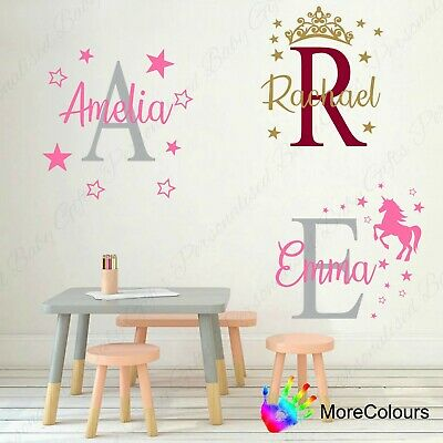Personalised Name Wall Art Sticker Letter Baby Girls Bedroom Nursery Decal Cot
