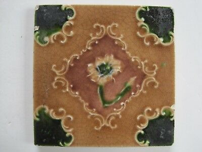 Antique Art Nouveau Majolica Glazed Relief Moulded Tile - Stylised Flower