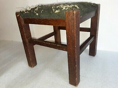antique Mission oak footstool signed Lifetime vintage Arts & Crafts Period stool