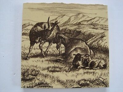 Antique Victorian Mintons / William Wise Tile - Animals Of The Farm Goats C1879