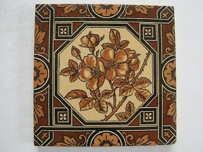 ANTIQUE VICTORIAN MINTONS TILE c1885 - WILD ROSE IN OCTAGON BORDER PATT No.1795