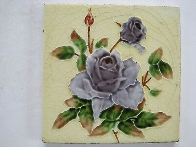ANTIQUE RELIEF MOULDED ART NOUVEAU TILE - H. RICHARDS - PURPLE ROSE c1920-30