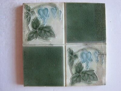 Antique Pilkingtons Moulded Art Nouveau Wall Tile Quartered Stylised Flowers