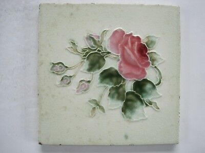 ANTIQUE RELIEF MOULDED ART NOUVEAU TILE - H. RICHARDS - PINK ROSE c1920-30