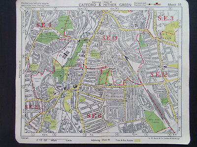 LONDON CATFORD HITHER GREEN LEWISHAM  VINTAGE BACONS 1949 STREET MAP 18x22CM