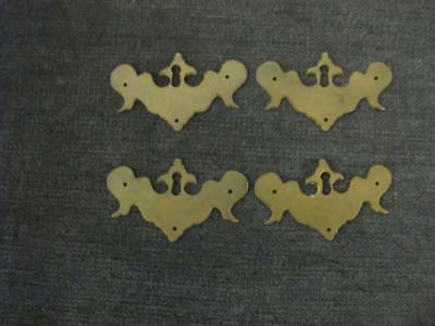 """4 Vintage Batwing Key Plates  Solid Brass  3 1/8"""" x 1 7/8"""""""