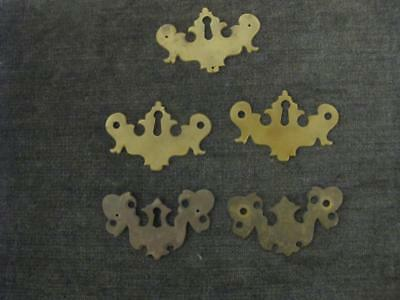 5 Vintage Batwing Plates Solid Brass 4 with Key Hole