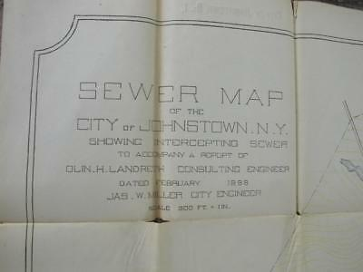 """Antique MAP City of Johnstown, NY Sewer 1899 Measures 47"""" x 27.5"""" Fulton County"""