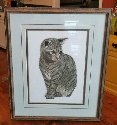 Finished.Completed Gray Tabby Kitten CAT Cross Stitch Professionally Framed