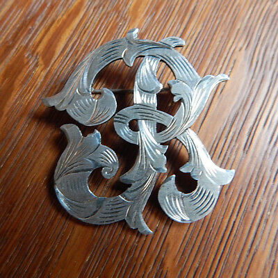 Vintage Large Ornate Engraved Initial B 925 Sterling Silver Pin Brooch Mexico