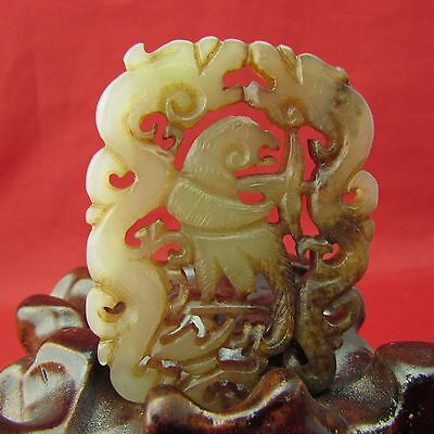 Chinese Jade hand carved Double dragon play Phoenix Jade Amulet Pendant A847