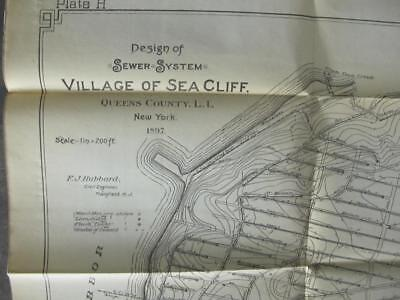 """PLANS Village of Sea Cliff - Long Island Design of Sewer System 1897 23.75 x 22"""""""