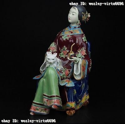 Chinese Pottery Wucai Porcelain Folk Display Woman Ladies Cat Decoration Statue