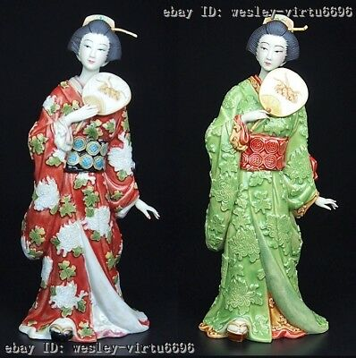 China Pottery WuCai Porcelain Home Decoration Japanese Woman Statue A Pair