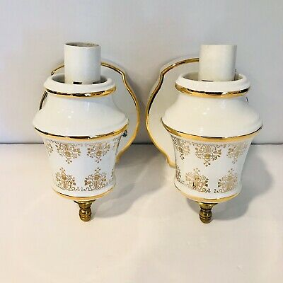 2 Vintage White & Gold Pair Porcelain Wall Sconce Electric Light Fixtures Italy