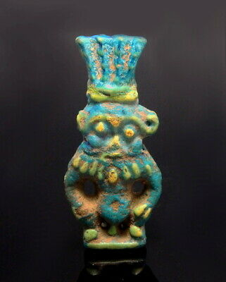 Romano-Egyptian Faience Double Sided Amulet Of Bes (M376)