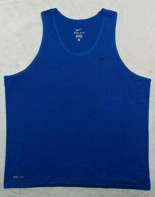 2408cc1d Nike Mens Dri Fit Sleeveless Running Singlet Tank Top Shirt Blue Stripe EUC.