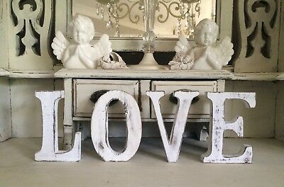 "Large Shabby Chic Vintage White Wooden ""Love"" Wedding Day Table Freestanding"