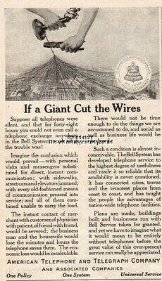 1915 American Telephone Telegraph Bell Phone Giant Cut Wires vintage print ad