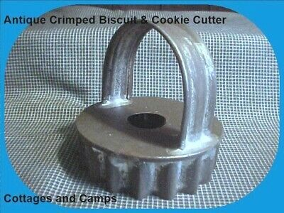 ANTIQUE Primitive Tin Metal Crimped Edge Vtg Biscuit & Cookie Cutter High Handle
