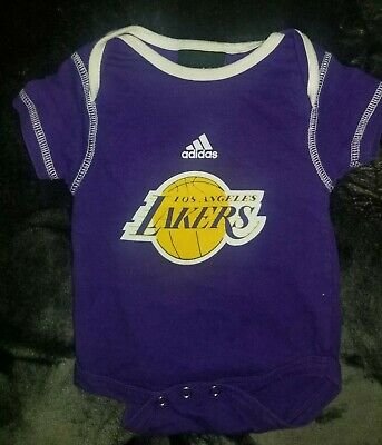 2a899ce4dc7e NBA Los Angeles Lakers adidas Kids 0-3 Months Purple One Piece Baby Infant