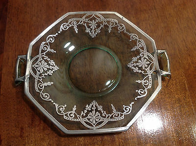 Antique Vintage Sterling Silver Overlay Handled Green Depression Glass Platter