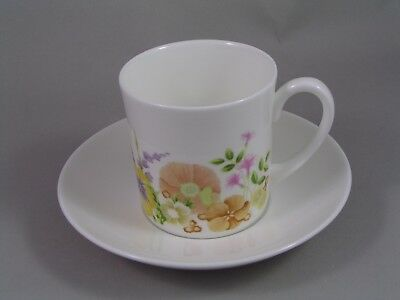 Wedgwood Summer Bouquet Tall Coffee Cup/Can And Saucer.