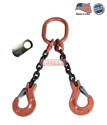 """7/32"""" G100 Chain Sling 2-Leg Clevis Sling Hook w/Latch DOS Made in USA"""