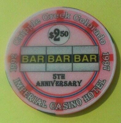 Imperial Casino Cripple Creek, Colorado $2.50 Bar Bar Bar Logo Gaming Chip!