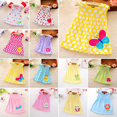 Cute Baby Girl Cotton Sundress Dress Sleeveless Cartoon Printed Casual Clothes