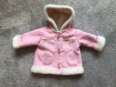 Ladybird Baby Girls Blue Denim Dress And Pink Faux Suede Coat Age 3-6 Months