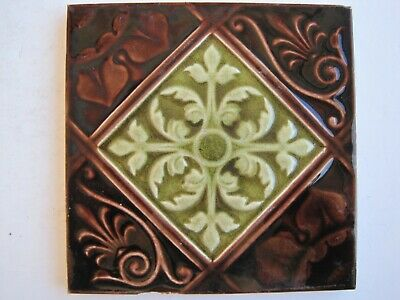 Antique Victorian Flaxman Moulded Majolica Glazed Aesthetic Tile Pattern 395
