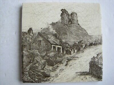 ANTIQUE VICTORIAN MINTONS VIEWS TILE  - CRICCIETH CASTLE c1885 SERIES No.2024
