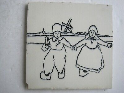 H. Richards Black On White Transfer Print Wall Tile - Dutch Children #2 C1920-30