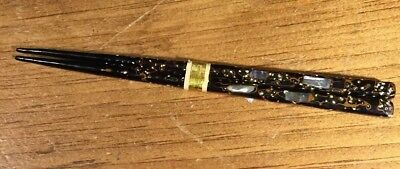 Vintage Oriental Asian Mother Of Pearl Inlay Hair Chop Sticks
