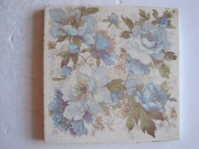 Antique Victorian Transfer Print & Tint Blue Floral Tile - Stubbs & Hodgart