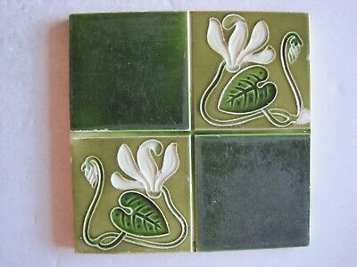 Antique H A Ollivant Moulded Art Nouveau Wall Tile Quartered Stylised Flowers