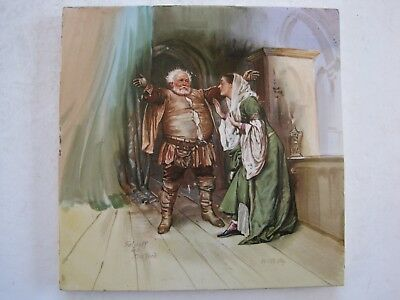 Antique Victorian Minton Hollins Tile - Falstaff & Mrs Ford - H M Paget