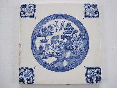 Antique Pilkingtons Willow Pattern Blue On White Wall Tile C1905