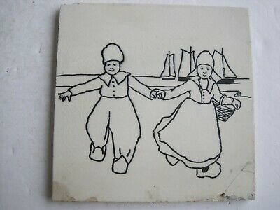 H. Richards Black On White Transfer Print Wall Tile - Dutch Children #1 C1920-30